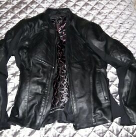 Womens Size 20 Leather Motorcycle Jacket and Size 16 Trousers