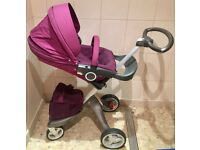 Stokke Xpolry Push Chair Pram Purple with Rain Cover & Shopping Bag