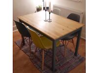 Pine Dining Table with Grey Painted Legs