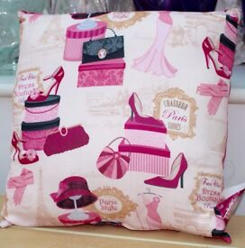 Gorgeous, NEW, fuschia pink, girly, chic, vogue cushion. Hats, shoes & handbags depicted
