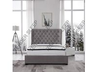 BRAND NEW DOUBLE VELVET BUTTERFLY STORAGE OTTOMAN GAS LIFT UP BED FRAME ON SPECIAL KING OFFER SIZE