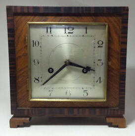1920s / 1930s Art Deco German H.A.C Mantel Clock + Penulum - No Key - works but needs attentions