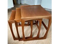 GPlan vintage 1960's nest of three tables, Quadrille range