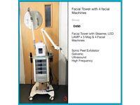 Beauty Facial Tower - 4 Facial Machines, Steamer & Mag Lamp