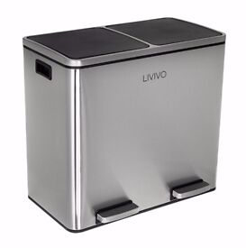Livivo 48L 2 compartment waste recycle pedal bin in stainless steel
