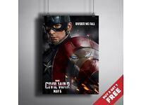 CAPTAIN AMERICA CIVIL WAR MOVIE POSTER A3 / A4* 2016 New Super Heroes Film Print