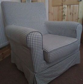 Ikea Jennylund Grey Gingham Check Armchair