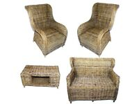 Kubu - Wicker Rattan Grey Conservatory Suite 1 x sofa, 2 x chairs, 1 x coffee table. No cushions