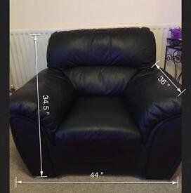 Black Leather Sofas (3+1)