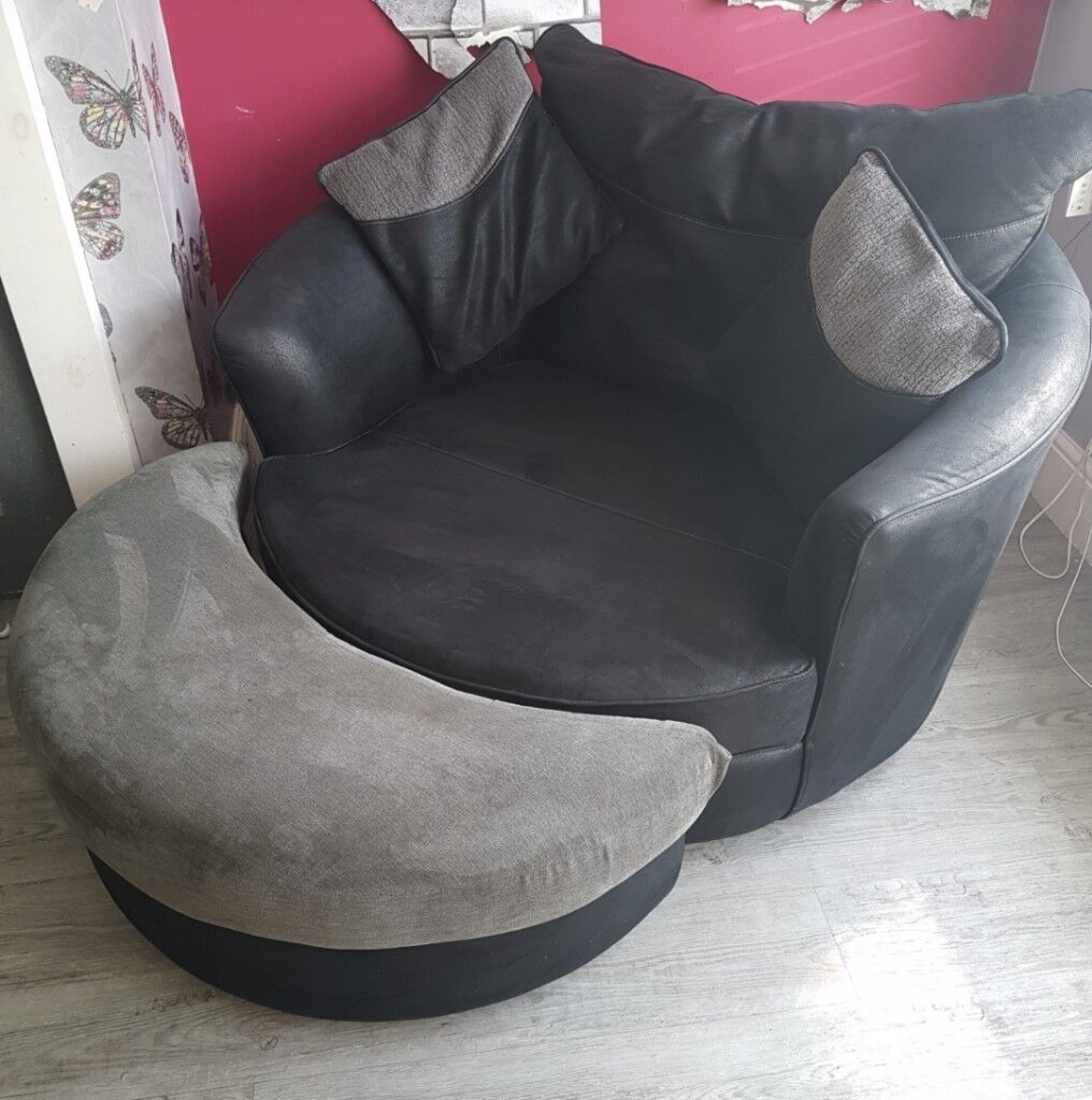 Fabulous Leather Suede Effect Cuddle Chair With Moon Shape Footstool In Eccles Manchester Gumtree Pabps2019 Chair Design Images Pabps2019Com