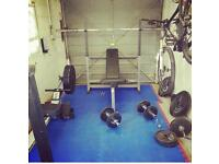 Olympic weights home gym dumbbell bench press