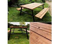 Bespoke Garden Furniture/Picnic Bench - Steel & Timber Construction