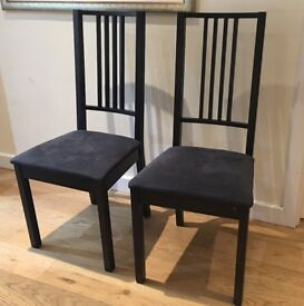 Set of 2 matching black Ikea dining chairs
