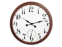 Outdoor Wall Clock Garden Brown 90cm Large Giant Easy Read Thermometer