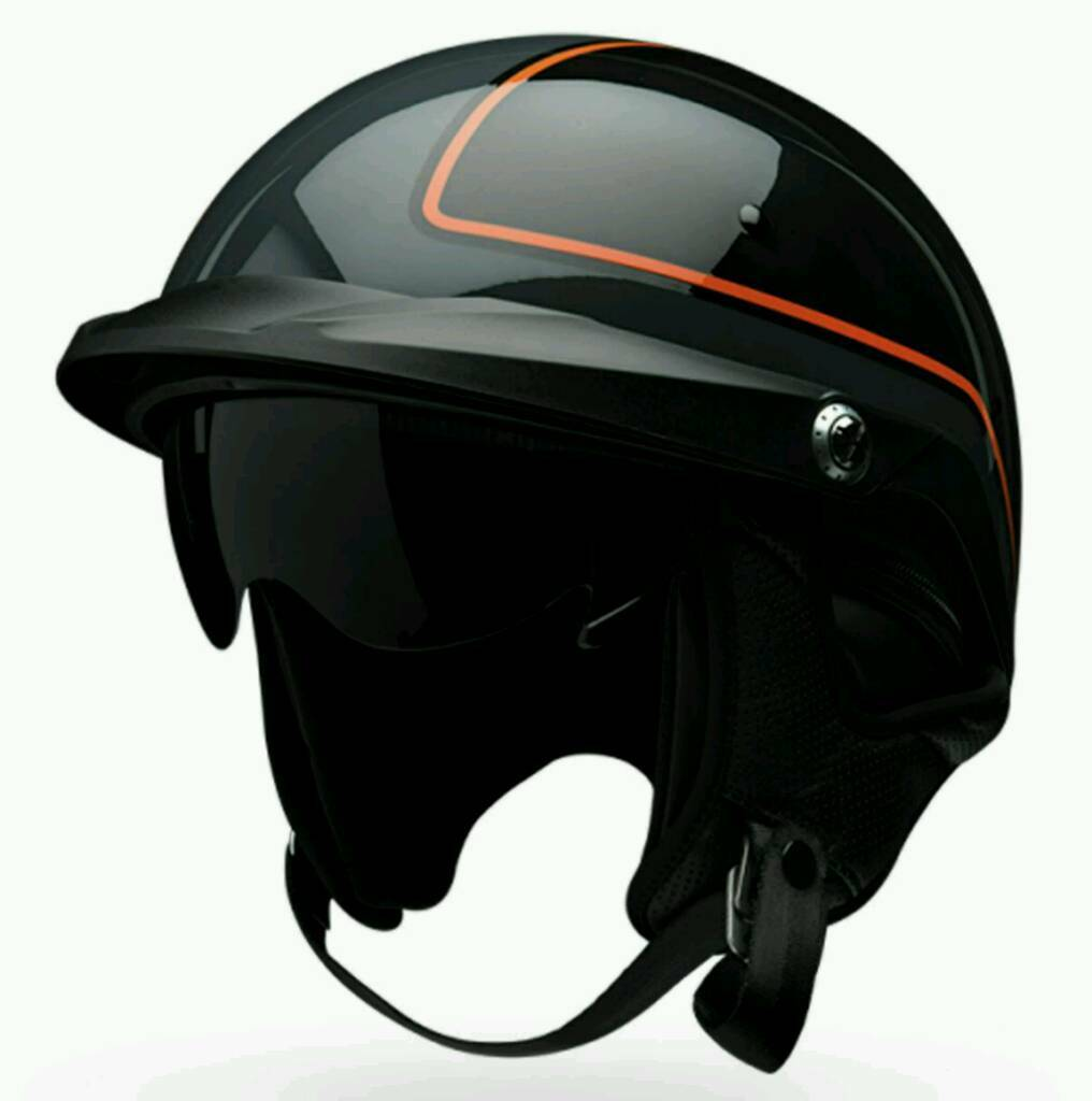 Motorcycle helmet - PINSTRIPE ORANGE/BLACK HALF HELMET in XS