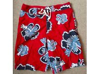 Jack Wills Surfwear Board Shorts with red Floral Design - Extra Small (Fits Small)
