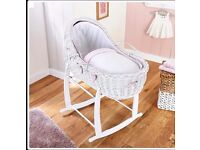 Brand new clair de lune white wicker moses basket with stand