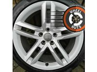 "18"" Genuine Audi A4 A5 S Line twin spoke alloys excel cond premium tyres."