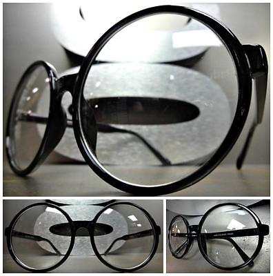 OVERSIZE VINTAGE Style Clear Lens EYE GLASSES Large Round Black Fashion (Large Round Glasses Frames)