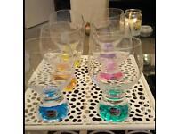 Bohemia crystal rainbow goblet style glasses set