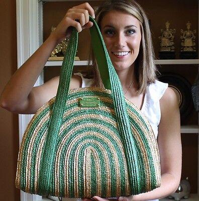 Kate Spade Lawn Party Half Circle Tote Bag Wicker Kelly & Natural Straw