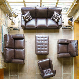 Benjamin 3 & 2 Seater Sofa in Caffe Full Italian Leather Free Mainland UK Delivery & Home Assembly