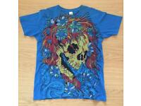 Brand new vintage Ed Hardy men's T-shirt. Blue. Medium. Ghost Skull design. Decorated in rhinestones