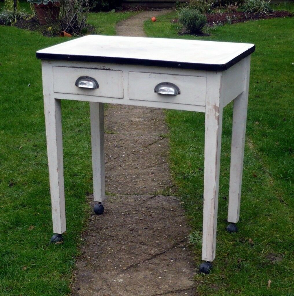 Small Old Vintage Enamel Top Table Kitchen Computer Restaurant Shabby Chic 2 Drawers