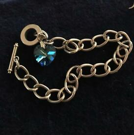 UNTESTED SILVER LINK BRACELET BANGLE WITH HEART CHARM