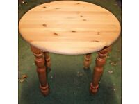 Circular round lamp / coffee table danish BORUP quality pine / small dining kitchen real solid wood