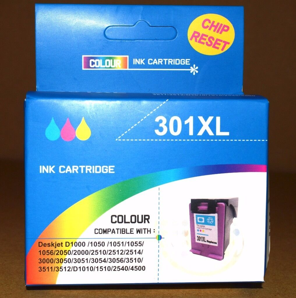 Printer Ink Cartridge 301XL Colour Chip Reset Compatible HP Deskjet 2050in Hagley, West MidlandsGumtree - Printer Ink Cartridge 301XL Colour Chip Reset Cartridges are refurbished Compatible with the following Deskjet HP printers D1000/1050/1051/1055/1056/2050/2000/2510/2512/2514/3000/3050/3051/3054/3056/3510/3511/3512/D1010/15102540/4500 Boxed and ready...