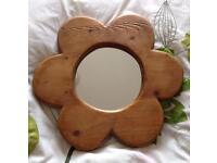 Beautiful handmade rustic flower mirror