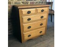 Antique Solid Oak Arts & Crafts Chest Of Drawers