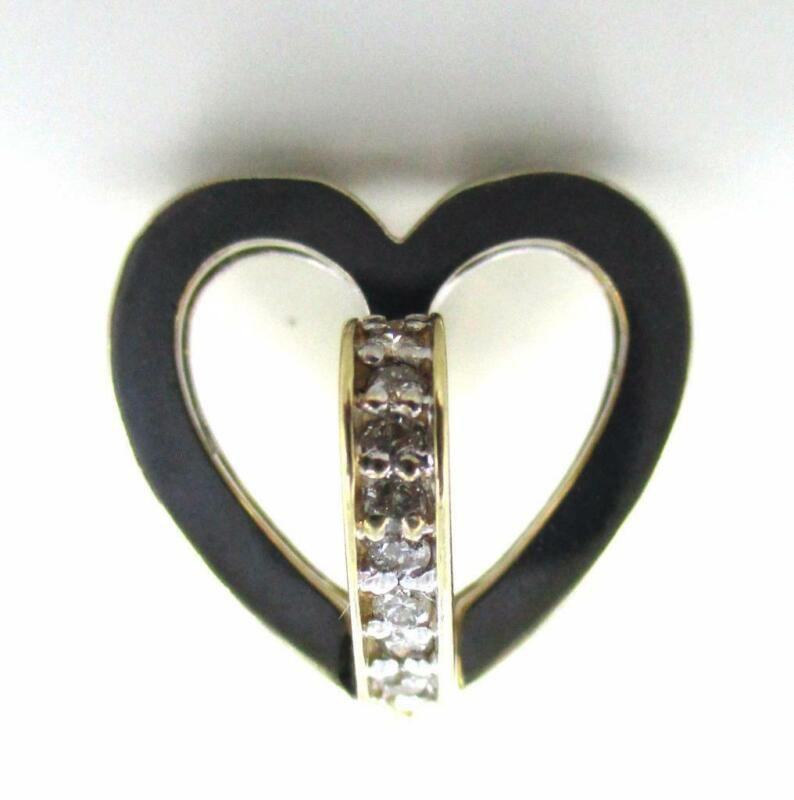 14kt Solid Yellow White Gold Two Toned 42 Diamonds Heart Love Pendantcharm