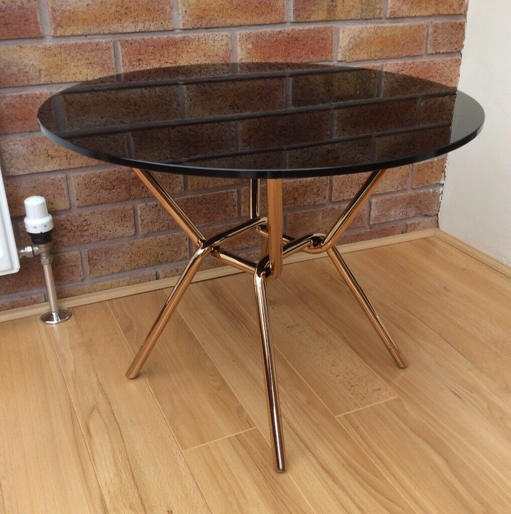 M&S Circular Black Glass Coffee Table, New / Boxed