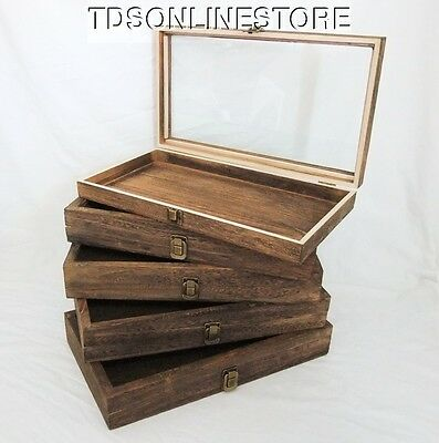 Rustic Antique Brown Color Wood Glass Top Display Cases Package Of 5