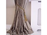 "NEW LAURA ASHLEY 100% Pure Dupion Silk Lined Curtains Huge 90""x90"" Long Bamboo Cream Interlined Pair"