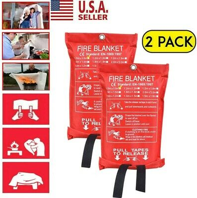 2PACK Emergency Fire Blanket Quick Release In Case For Home&Office 1mx1m USA