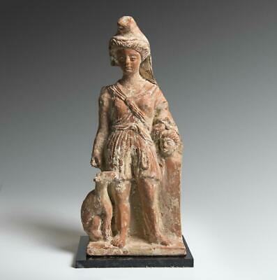 Superb Greek terracotta figure of the goddess Artemis