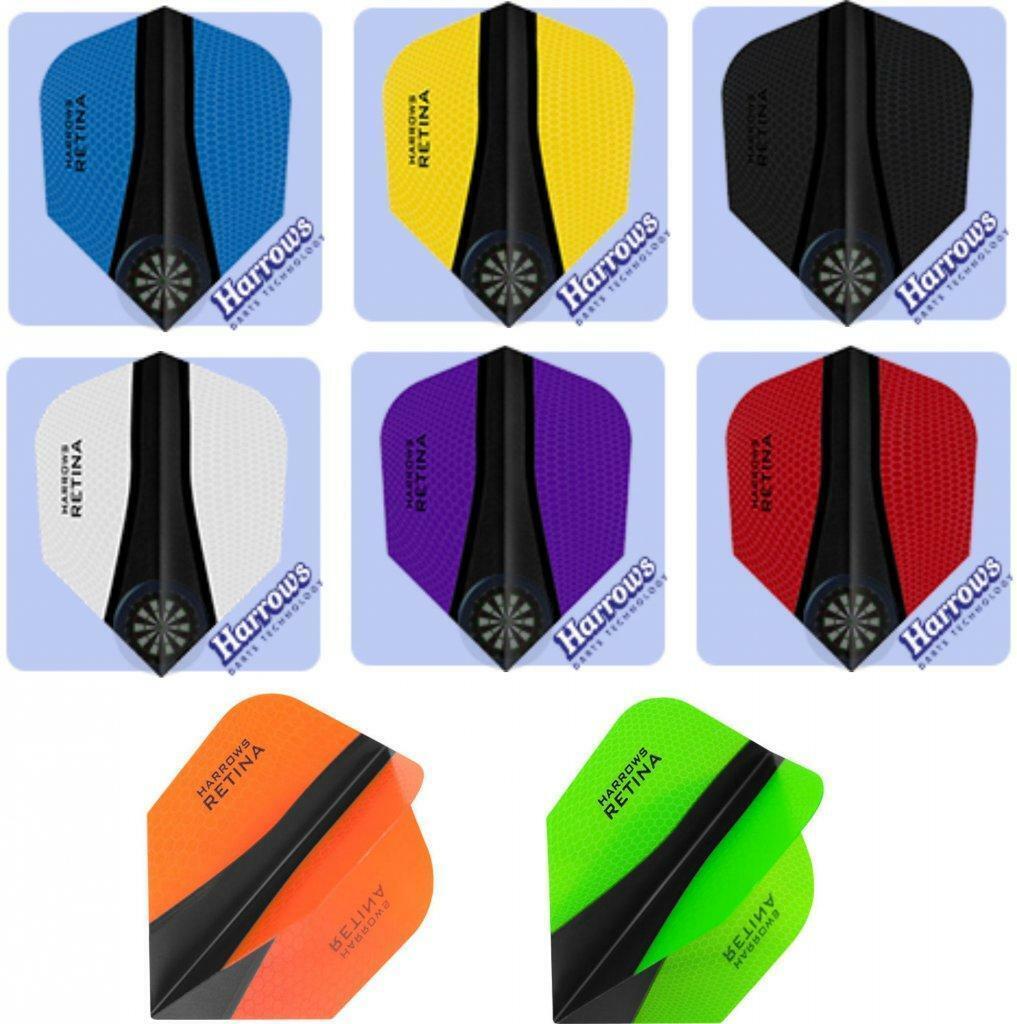 18 HARROWS Retina X Dart Flight Flys slim in verschiedenen Farben 6 Sets
