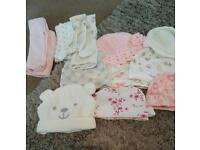 Baby girl newborn and 0-3 hats and tights