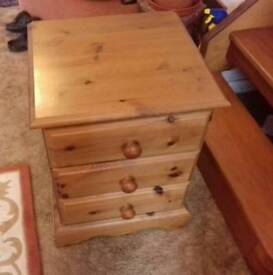 Solid pine bedside drawers