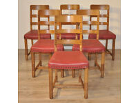 Attractive Set of Six 6 Vintage Retro Oak Spar Bow Back Dining Kitchen Chairs