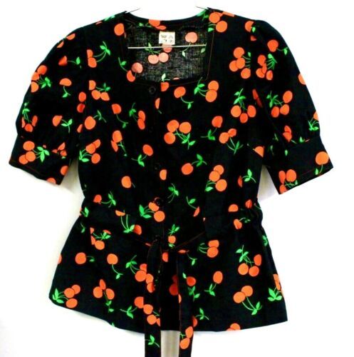 Vintage Cherries Button-Down Blouse  Puffed Sleeves Black/Red FINLAND 36 1970s