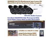4 X KKMOON WHITE BULLET CCTV CAMERA IR-CUT DAY/NIGHT VISION CCTV + OWSOO 4 CH 1080 DVR