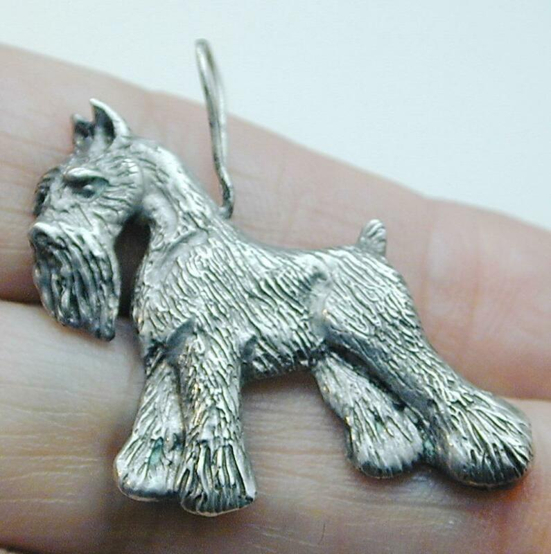 Large Sterling Schnauzer Dog Pendant Charm Very Detailed
