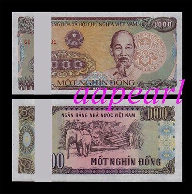 100pcs Vietnam 1000 Dong real paper money. UNC Banknotes brand new a bundle