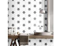 Black Star Hexagon Wall And Floor Tiles 22x25cm