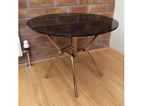M&S Circular Black Glass Lamp Table, New / Boxed