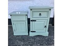 Set of 2 painted bedside units for all your nighttime necessities